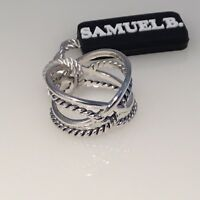 SOLD OUT! SAMUEL B JEWELRY STERLING SILVER DOUBLE CRISS CROSS RING SIZE 7 NWT