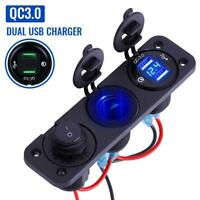 QC 3.0 Dual USB Charger Power Socket Outlet Plug Panel Mount Boat Truck Car Boat