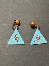 on Copper Clip Back Earrings Beautiful Pair of 1950's Enamel