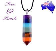 7 Chakra Natural Stone Crystal Quartz Point Healing Reiki Pendant Necklace Gift