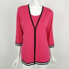 Exclusively Misook Cardigan Sweater & Tank Top Womens Size XS Pink w/ Black Trim