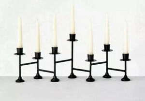 """Hearth & Hand Magnolia Candle Holder Black Metal Candelabra 7-Count Taper 21x8"""""""