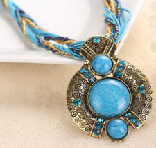 New 7 Color Vintage Women's bohemian Turquoise Beads String Pendant Necklace