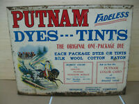 Antique TIN Fadeless PUTNAM DYES Advertising Box Store Display