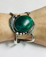 Old Pawn Sterling Silver Feathers Large Green Malachite Cuff Bangle Bracelet