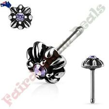 Tanzanite Gem Tribal Double Cross Top S Steel Antique Silver Nose Stud With
