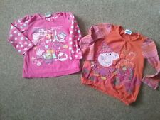 2 X Girls Age 2-3 Peppa Pig Tops Pink Holiday Orange Striped Long Sleeved