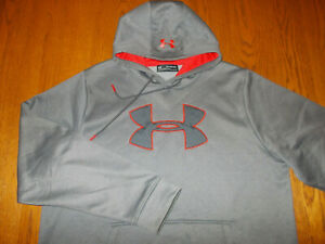 UNDER ARMOUR COLD GEAR GRAY HOODED SWEATSHIRT MENS 2XL EXCELLENT CONDITION