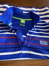 Hugo BOSS de hombre de rayas camisa Polo Etiqueta Verde XL