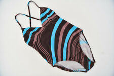Sunseeker Multi Fit One Piece Swimsuit AU Size 10 Brown Blue Stripe