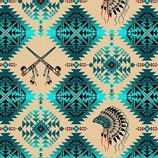 Turquoise Southwest Navaho Design, Mandala Feathers, Native Spirit, 1/2 Yard Cut