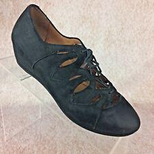 "Womens GENTLE SOULS 6.5M NYE Nubuck Lace-Up Wedge Leather 1.5"" Heel $165"