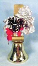 Christmas Door Bell Goldtone Metal Pine Cones Silver Foil Leaves Vintage