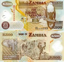 ZAMBIA 500 Kwacha Banknote World Money POLYMER UNC Currency Pick p43f Eagle Bill