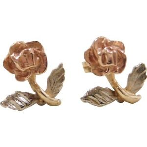 Vintage Estate 14k Tri-Color Yellow White Pink Gold Rose Flower Studs Earrings