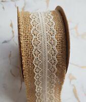 Rustic Antique Cream Lace Hessian Ribbon 1yd x 50mm / 5 cm Wedding Card Craft