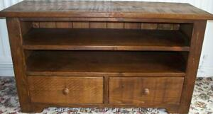 NEW SOLID WOODEN TV STAND CABINET ENTERTAINMENT UNIT RUSTIC PLANK PINE FURNITURE