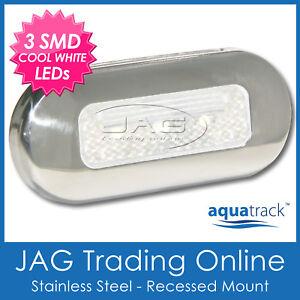12V STAINLESS STEEL 3-SMD WHITE LED COURTESY LIGHT SS - Boat/Cabin/Stair/Step/RV