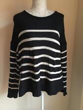 H&M Womens Navy Blue Striped Cotton Blend Oversized Jumper Size 14-16 (65)