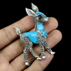 Blue Turquoise 20x17mm Marcasite 925 Sterling Silver Bambi Brooch Big