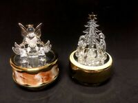 Lot 2 Clear Glass Christmas Angels Holy Family Rotating Music Box Gold Base