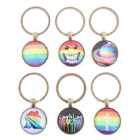 Fashion Gay Pride Keychains Key Ring Glass Cabochon Key chain Gift _ti