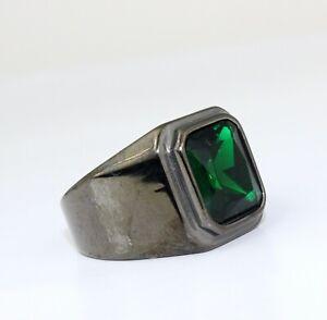 Men Hip Hop Green Cubic Zircon Stone Black Titanium Stainless Steel Ring 8-10