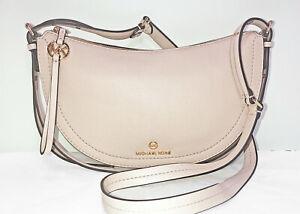 Michael Kors Camden Small Leather Messenger Bag Half-Moon Silhouette Soft Pink