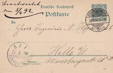 REICHSPOST GA 19.03.1892 BRAUNSCHWEIG *5* nach HALLE (SAALE) A.S.P.A.N 2 Druck 5