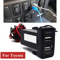 Car Dual USB Port Socket Dashboard Cell Phone Charger Audio Port Fit For TOYOTA