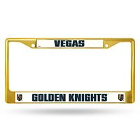 Las Vegas Golden Knights Gold Metal License Plate Frame Tag Cover Raised Logos
