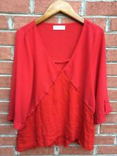 Altar'd State Womans Sheer Orange Long Sleeve Blouse Top Size Small