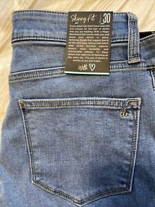 30 Lularoe Denim Jeans Ankle Distressed Light Wash Skinny Fit Lycra Stretch NWT