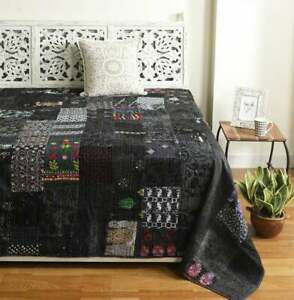 Indien silk Handmade Patchwork Print Kantha Quilt Bedspread Bed Cover Gudri boho