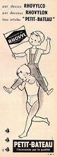▬► Publicité French Print advertising - Rhovyl  - PETIT-BATEAU - 1961
