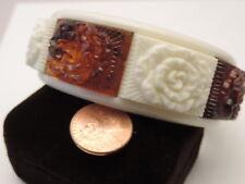 Chunky Faux Carved Tortoise/Ivory Plastic Bangle Bracelet Rose Mum Flowers 3a 10