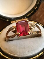 Vintage Egyptian 18ct Gold Ruby Diamond Ring Size Q
