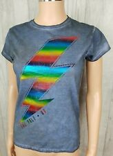 New Womens The Bolt 89 Flash Multi Colour Foil Washed Grey T Shirt Size M New