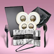 270 Piece Disposable Dinner Set With Silver Rims For Up To 40 People