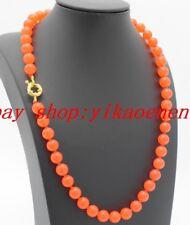 "Beautiful 8mm Orange Jade Round Gemstone Beads Necklace 18""AAA"