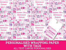 Personalised Happy 19th Birthday Wrapping paper. Pink Gift Wrap with a number 19