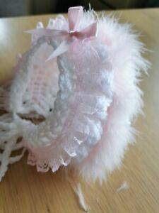Baby girl white crochet wool bonnet. Pink marabou, pink frill & bow. All sizes