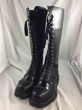 New Rock UK Size 8 EU Size 41 Ladies Goth Style Black Leather Knee Length Boots