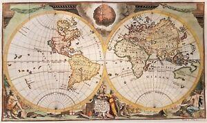 1710 WORLD MAP ORBIS TERRARUM ORIGINAL MAP BY VAN DER AA