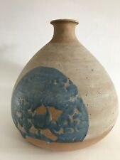 "Owen Pottery Vase Vintage  8"" Blue Tan"