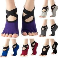Women Yoga Socks Non-Slip Skid Grips Open Toe Socks Pilates Fitness Ballet Gym