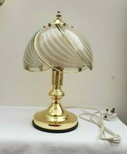 Vintage Retro 1980s or 1990s Art Deco Style Brass Table Lamp with Glass Shade