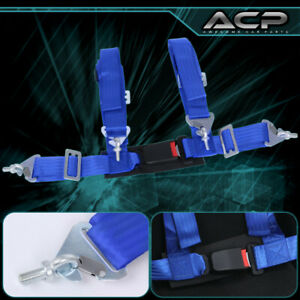 """1X 4 Point Blue Nylon Racing Harness Safety Seat Belt 2"""" Buckle Strap Universal"""