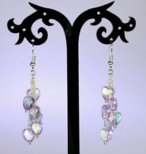 Lilac Iridescent acrylic hearts cluster dangle earrings, silver chain, hooks