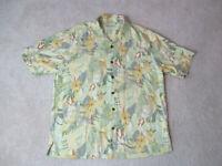Tommy Bahama Hawaiian Shirt Adult Large Yellow Green Floral Print Silk Camp Mens